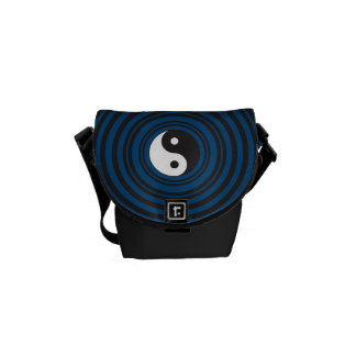Yin Yang Symbol Blue Concentric Circles Ripples Messenger Bag