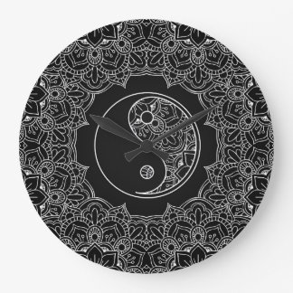 Yin yang symbol in Black and white lace ornament Large Clock