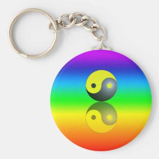 Yin & Yang symbol on Chakra colors motive 1 Key Ring