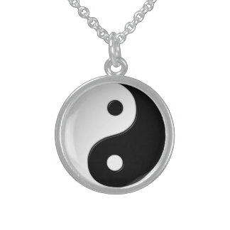 Yin Yang Symbol Sterling Silver Necklace