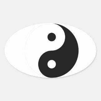 Yin Yang Symbol, Taoism Oval Sticker