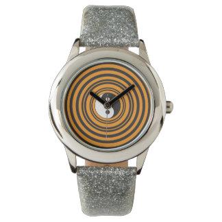 Yin Yang Taijitu Symbol Orange Black Circles Wrist Watches