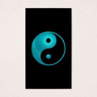 Yin Yang Teal Blue Aqua Spiral Template Black Business Card