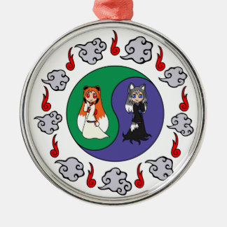 Yin & Yang The Cute Kitsune Sisters (Fox Girls) Silver-Colored Round Decoration