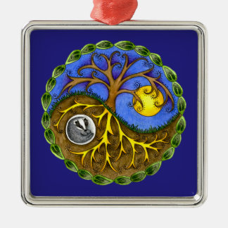 Yin & Yang Tree and Badger Silver-Colored Square Decoration