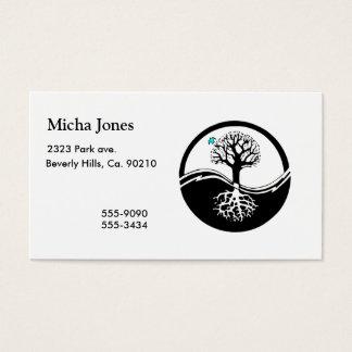 Yin Yang Tree Of Life Black & White Business Card