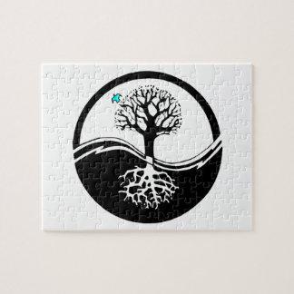 Yin Yang Tree Of Life Black & White Jigsaw Puzzle