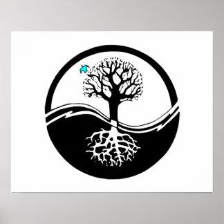 Yin Yang Tree Of Life Black White Posters