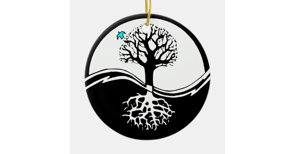 Yin yang tree of life black white round ceramic for Decoration murale yin yang