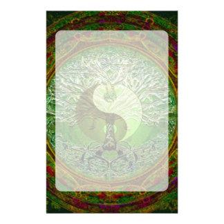 Yin Yang Tree of Life Green Customised Stationery
