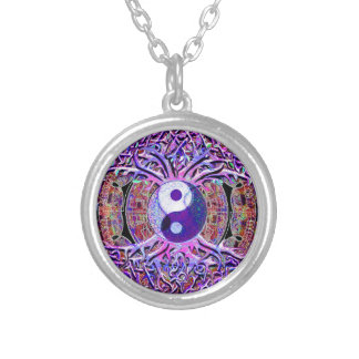 Yin Yang Tree of Life Round Pendant Necklace