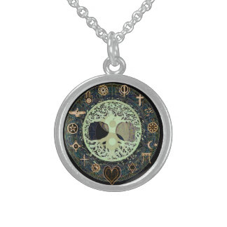 Yin Yang Tree of Life Symbol Sterling Silver Necklace