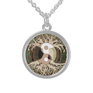 Yin Yang Tree of Life Tan Sterling Silver Necklace