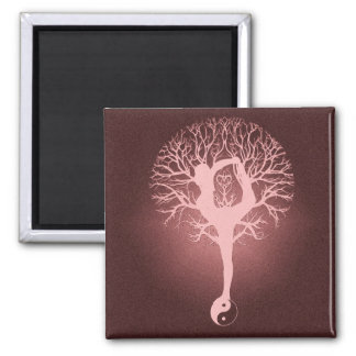 Yin yang, tree of life, yoga, harmony by Amelia Square Magnet