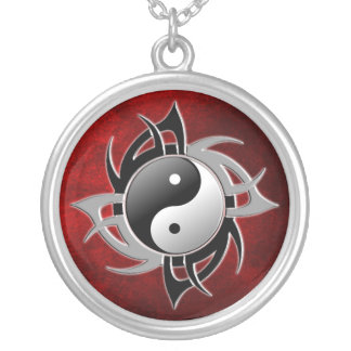 YIN YANG TRIBAL 3D SILVER PLATED NECKLACE