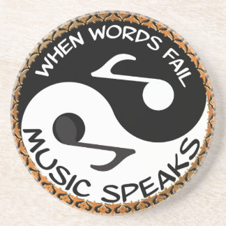 Yin Yang with music words Coaster