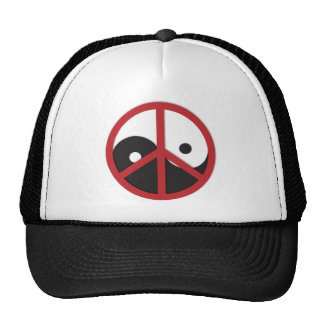 Yin-Yang with Peace sign - red Mesh Hats