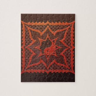 Yin Yang Woodcut Mandala Jigsaw Puzzle