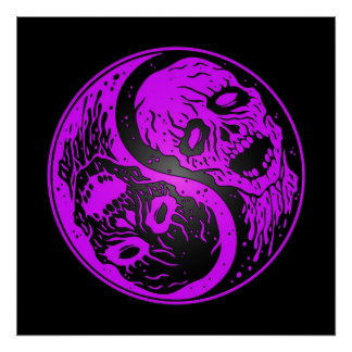 Yin Yang Zombies Purple and Black Poster