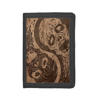 Yin Yang Zombies with Wood Grain Effect Trifold Wallet