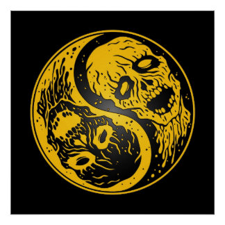 Yin Yang Zombies Yellow and Black Posters