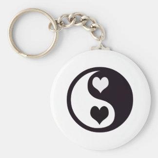 Ying and Yang Black and White Hearts Key Ring