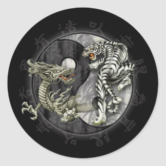 Ying and Yang Tiger Classic Round Sticker