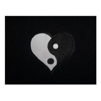 Ying Yang (B&W) Heart Products Postcard