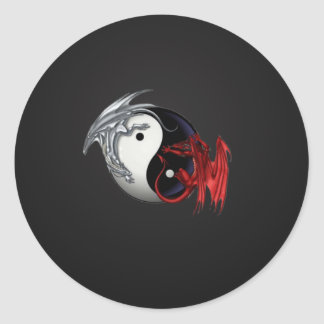 Ying Yang Dragon Classic Round Sticker