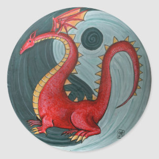 Ying Yang Dragon Round stickers