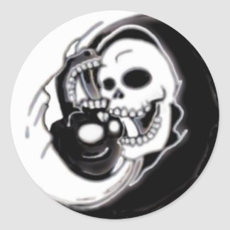 Ying Yang Grim Reaper Classic Round Sticker