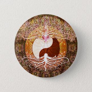 Ying Yang Heart Tree of Life 6 Cm Round Badge