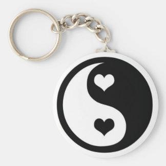 Ying Yang Love Basic Round Button Key Ring