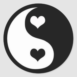 Ying-Yang Love Classic Round Sticker