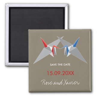 Ying + Yang Paper Cranes Save The Date Magnet