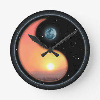 Ying Yang Sunset Round Clock