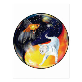 YinYang Fish and Cat - Colour Postcard