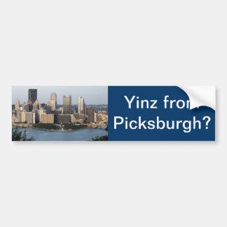"""""""Yinz from Picksburgh"""" Bumper Sticker"""