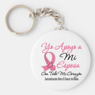 Yo Apoyo a Mi  Esposa - Cáncer de Mama Basic Round Button Key Ring