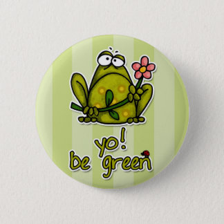 yo! be green 6 cm round badge
