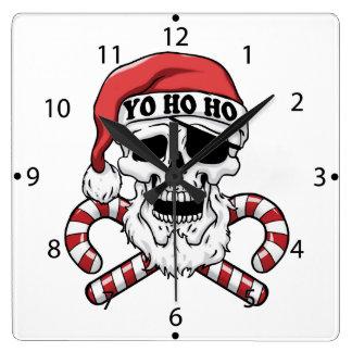 Yo ho ho - pirate santa - funny santa claus square wall clock
