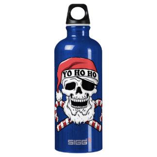 Yo ho ho - pirate santa - funny santa claus water bottle