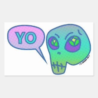 """Yo"" means ""Hi"" in alien Rectangular Sticker"