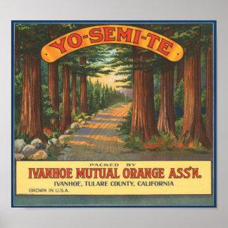 YO-SEMI-TE Vintage Fruit Crate Label Poster