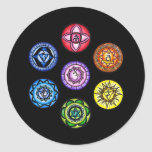 Yoga - 7 Chakras Energy Round Stickers
