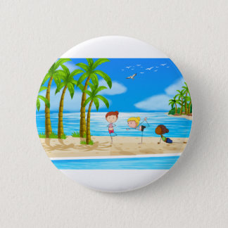 Yoga and beach 6 cm round badge