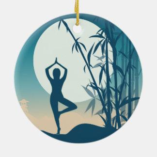 Yoga at Dawn Ceramic Ornament