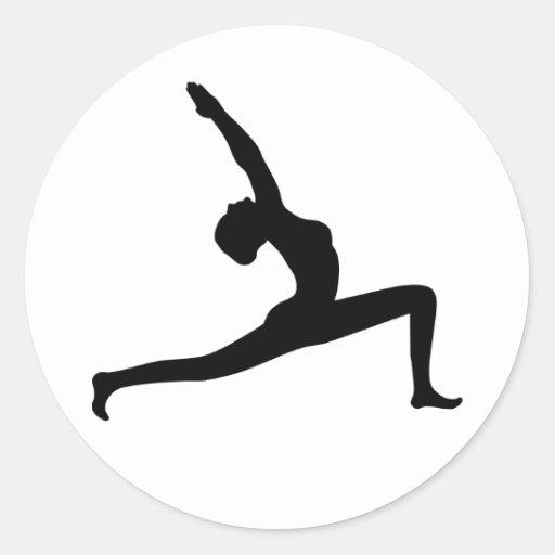 Yoga Black Silhouette Woman Posing Round Stickers Round Stickers