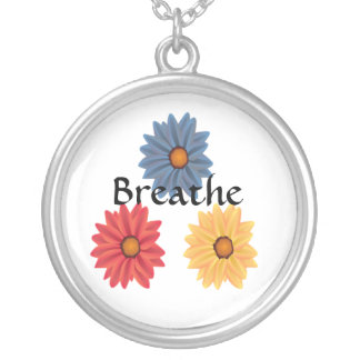 Yoga Breathe Silver Plated Necklace