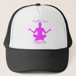 Yoga BreatheCalmYogaOn Trucker Hat